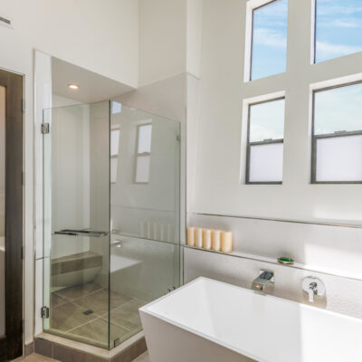 Sleek and sophisticated primary bath