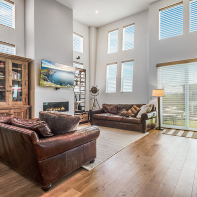 Living room with light filtering shades